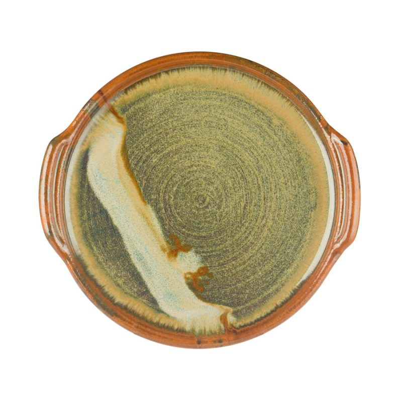 a round, green serving tray with handles