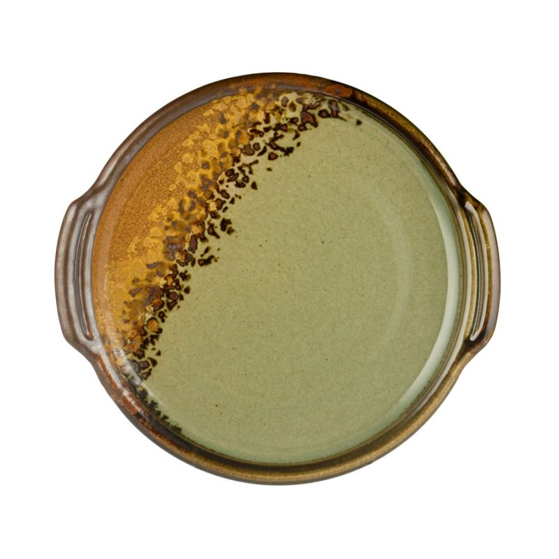 a round, green and sandy brown serving tray with handles
