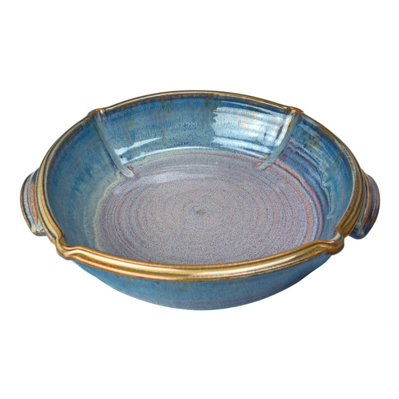 a large, blue square baking dish with handles