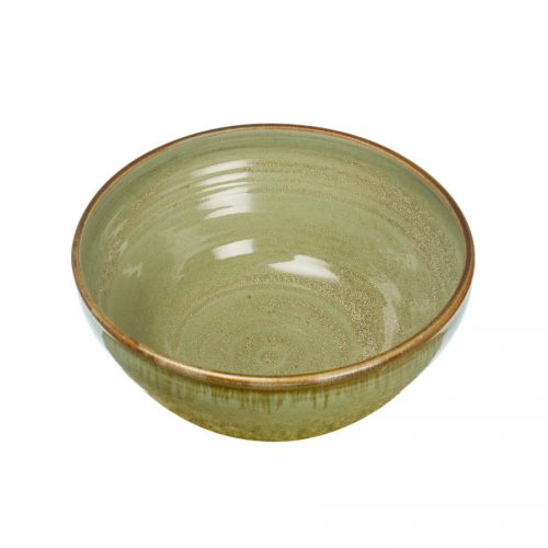 a deep, mint green serving bowl with rounded sides
