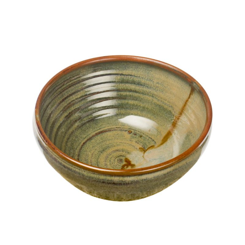 a deep, green serving bowl with rounded sides
