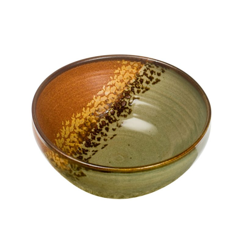 a deep, green and sandy brown serving bowl with rounded sides