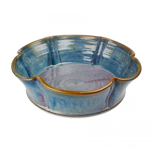 a fluted, blue decorative bowl