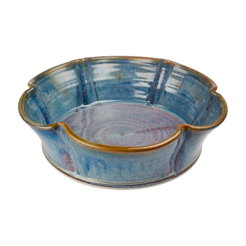 a fluted, blue decorative bowl