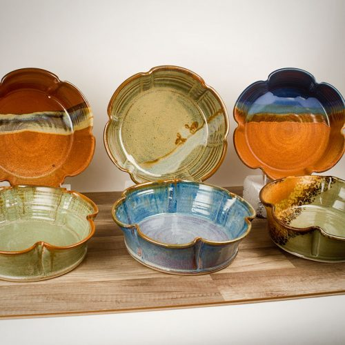 6 large, fluted serving bowls, in assorted patterns