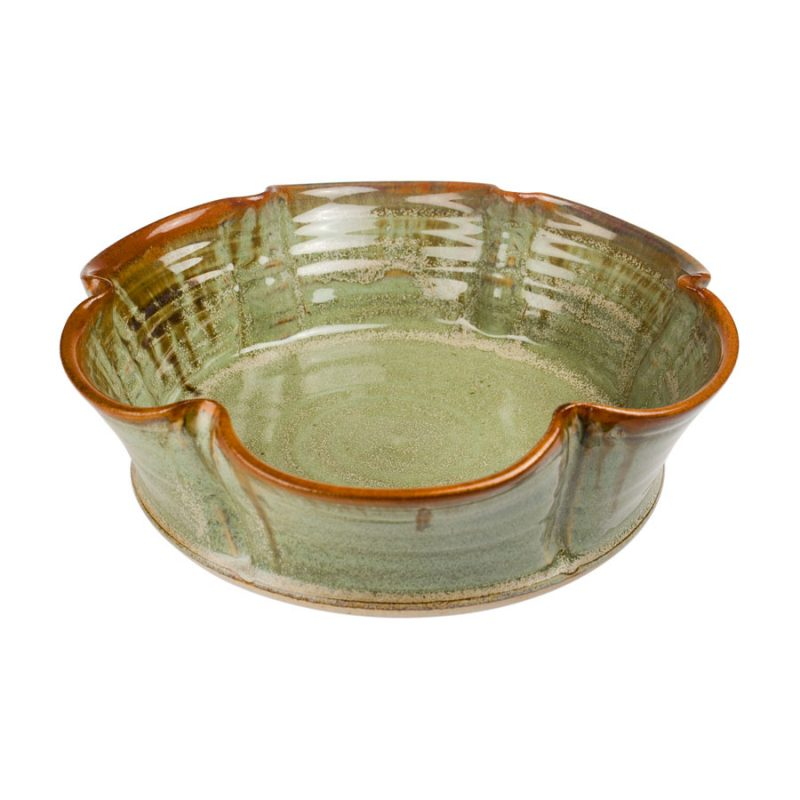 a fluted, mint green decorative bowl