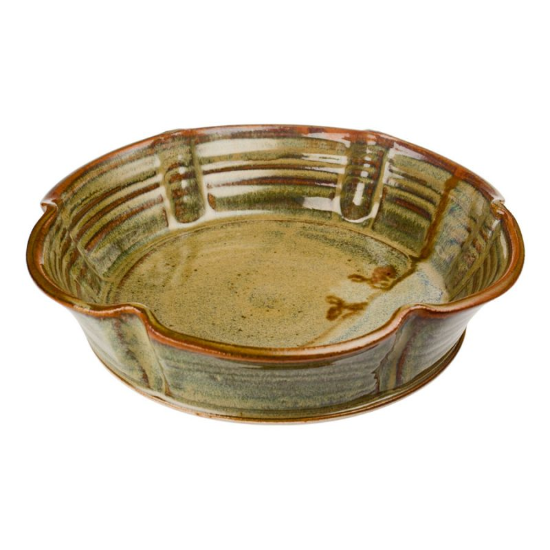 a fluted, green decorative bowl