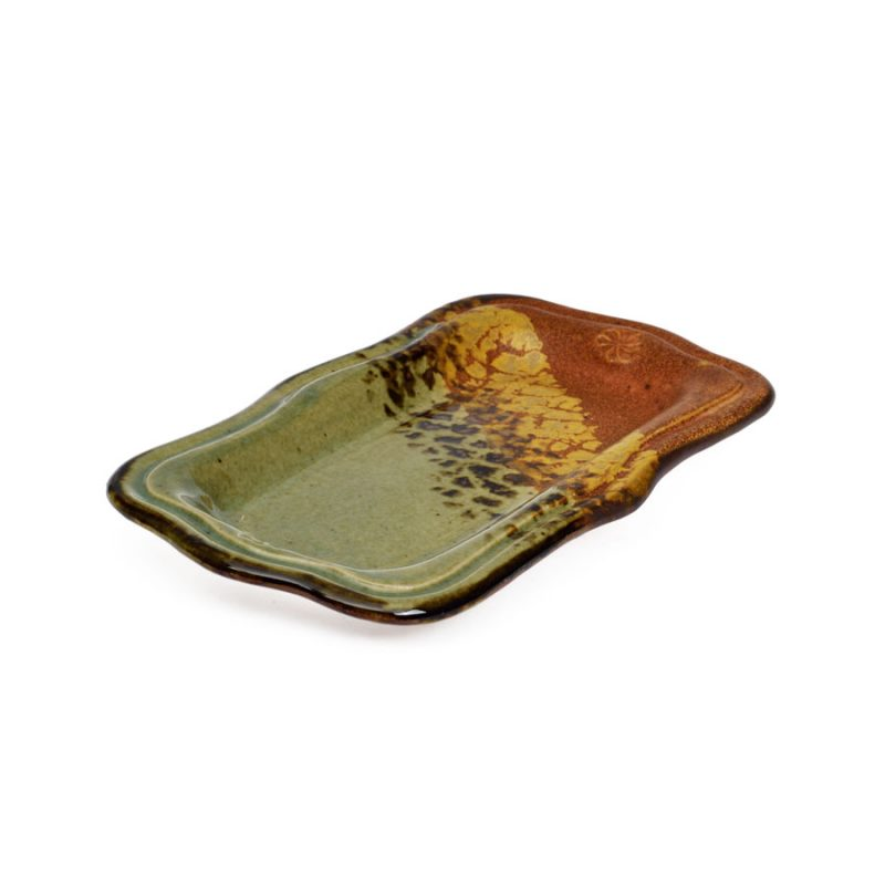 a small, green and sandy brown recantgular butter serving dish