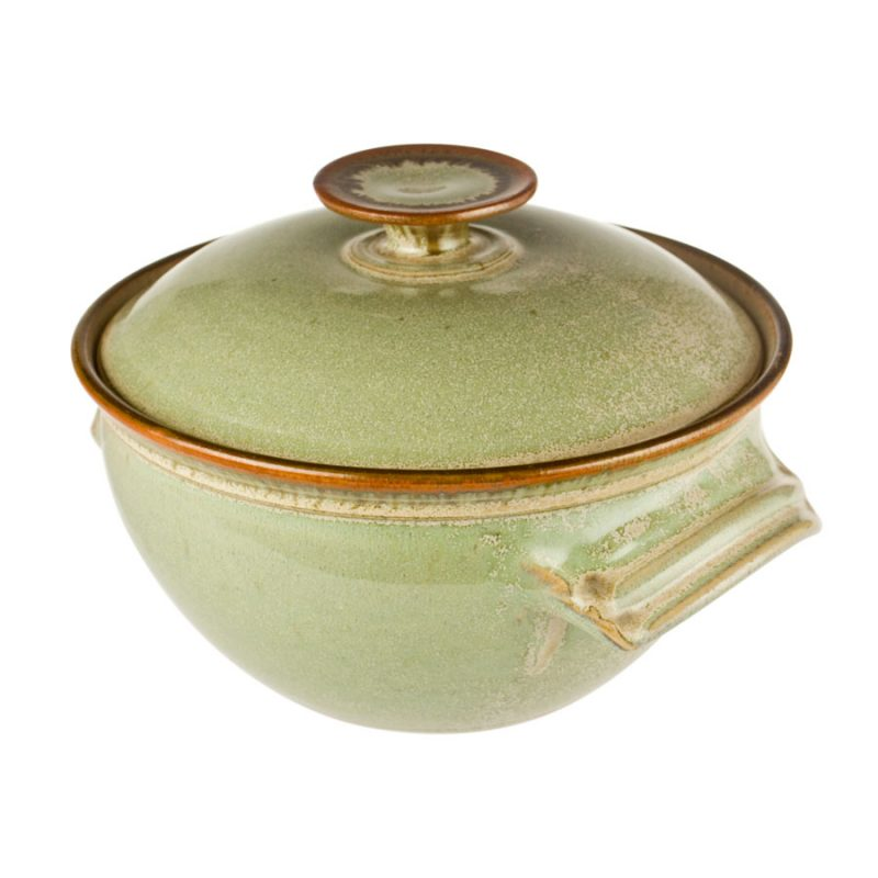 a deep, mint green casserole baking dish with a lid