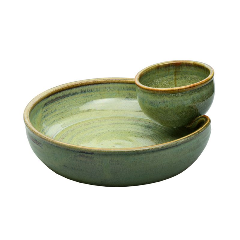 a shallow, mint green serving dish with an attached bowl