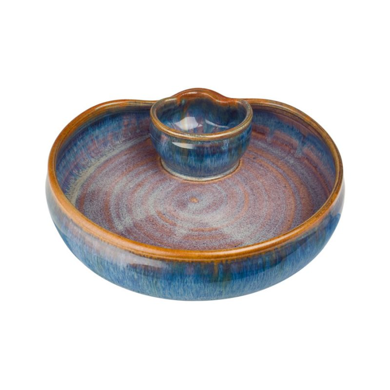 a small, blue serving dish with an attached bowl
