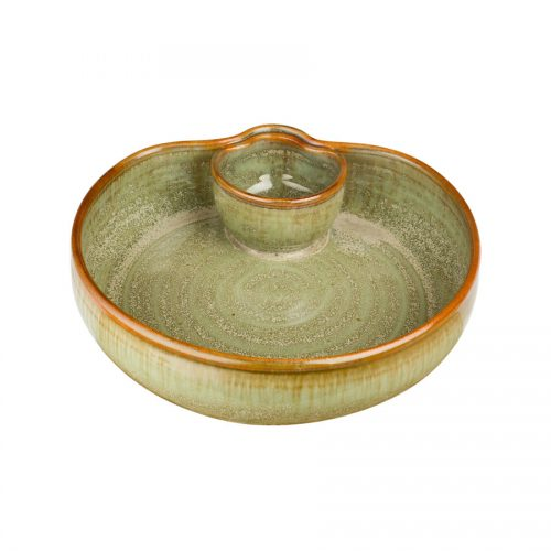 a small, mint green serving dish with an attached bowl