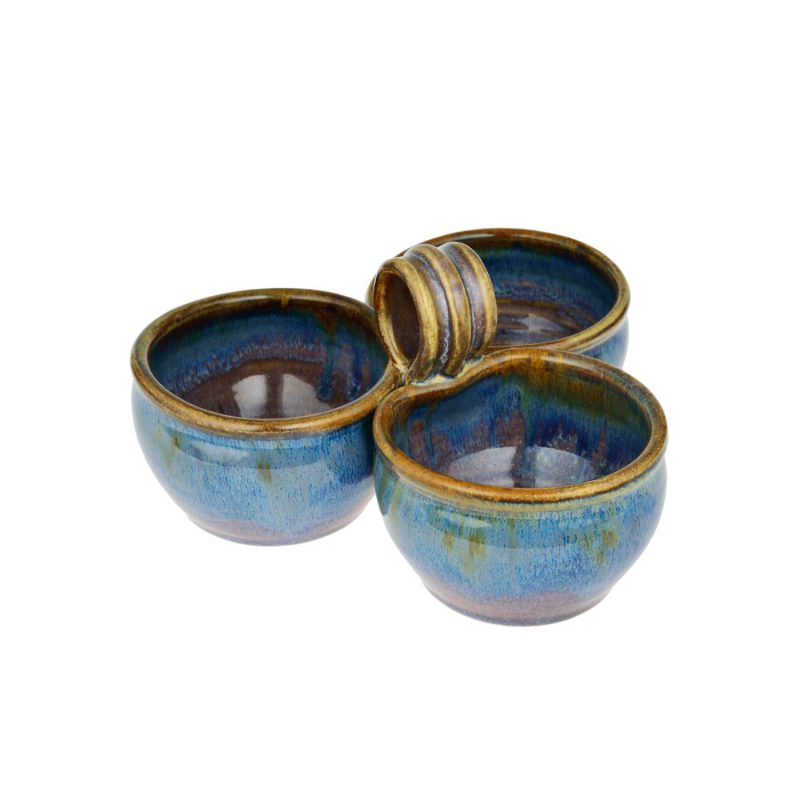 a blue condiment dish with 3 bowls and a handle