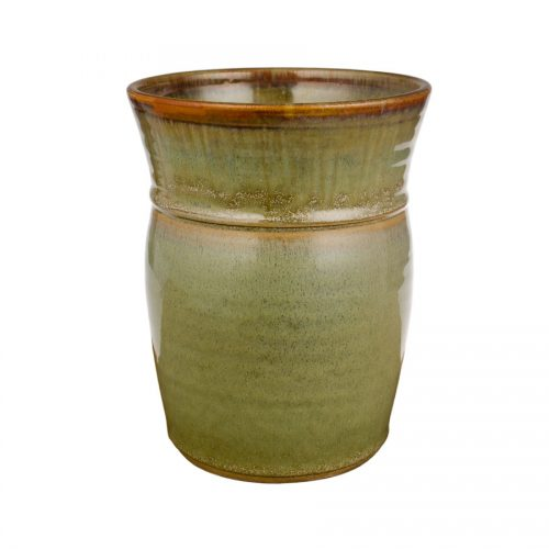 a tall, mint green storage jar