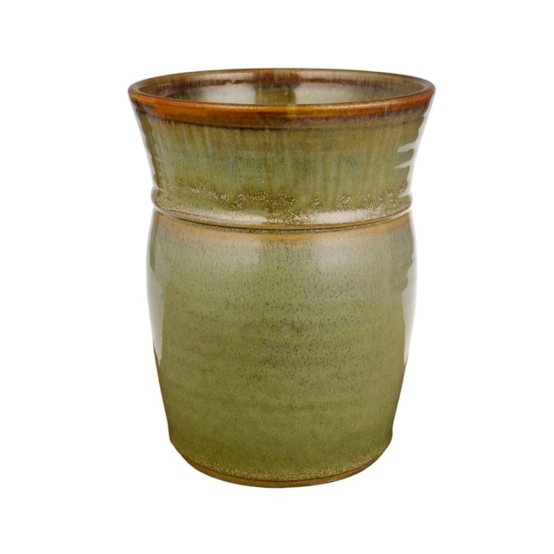 a tall, mint green storage jar