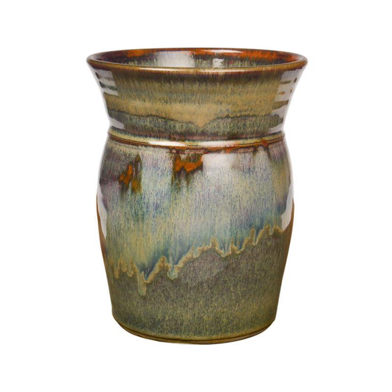 a tall, green storage jar