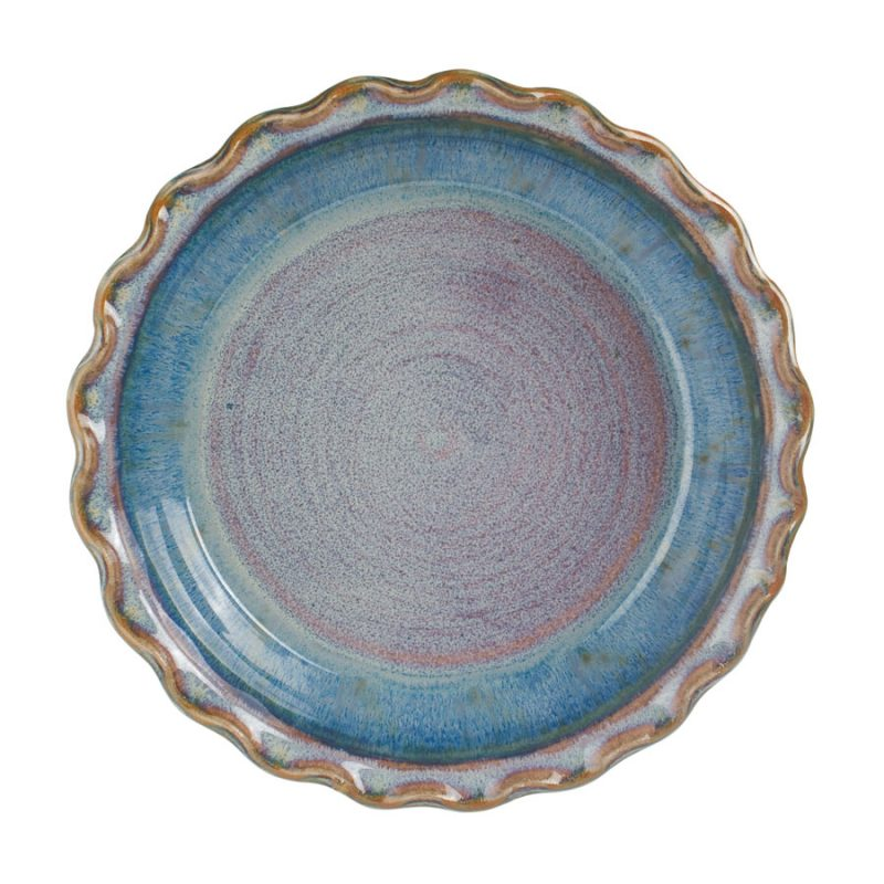 a shallow, blue baking dish with a frilled edge