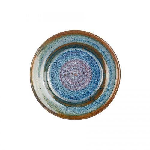a small, blue saucer.