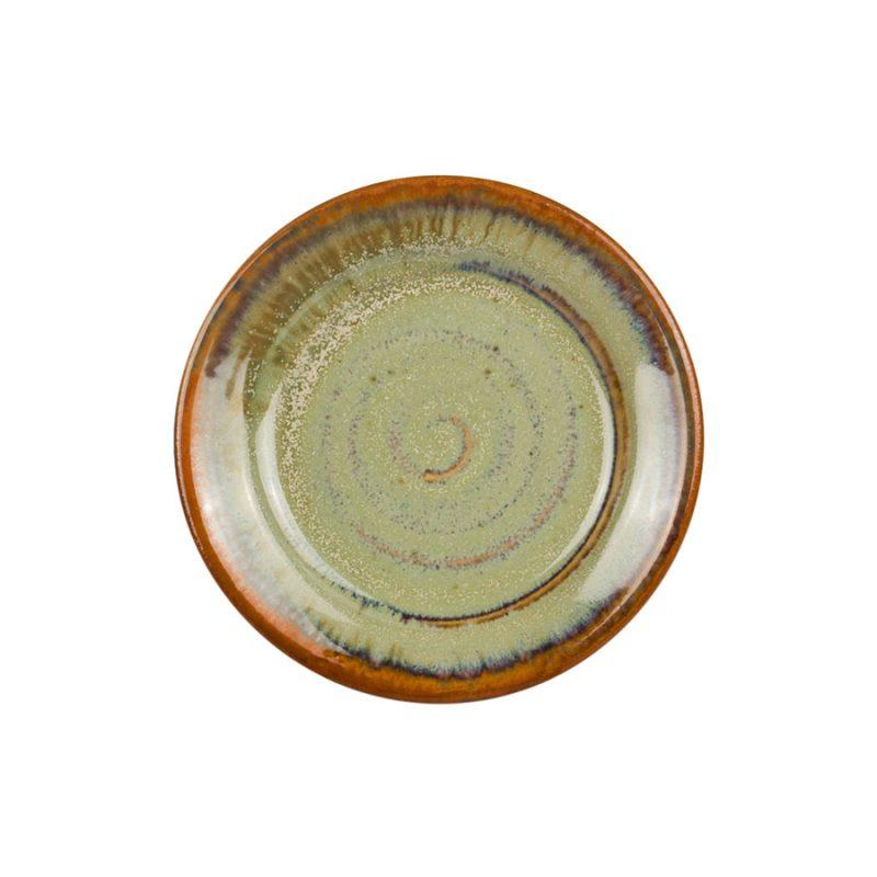 a small, mint green saucer.