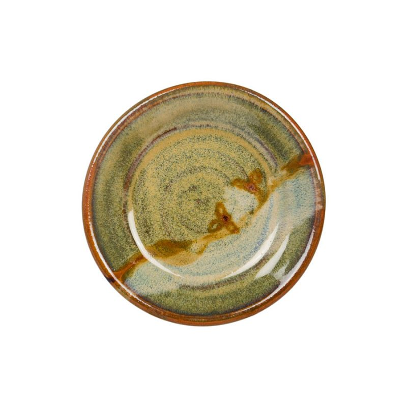 a small, green saucer.