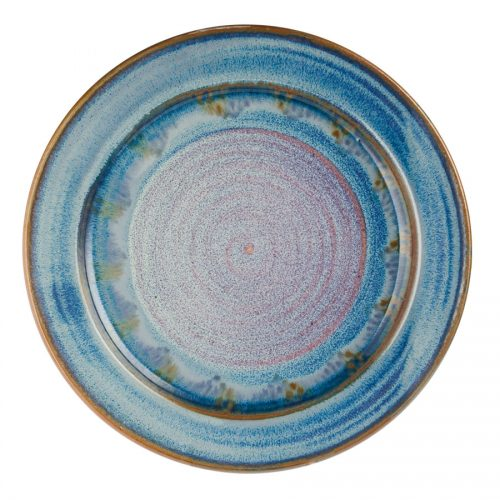 a large, blue serving platter