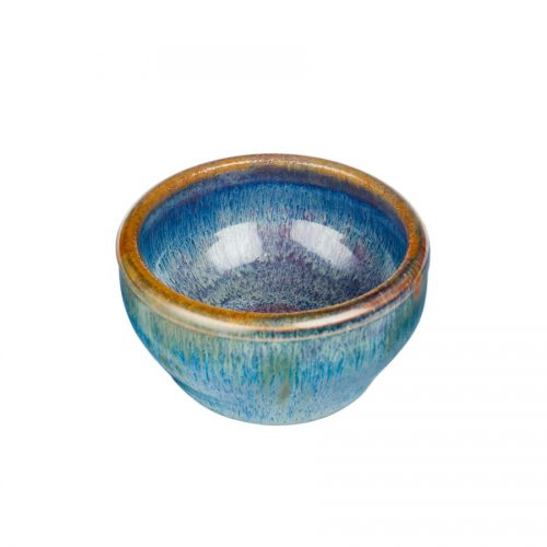 a petite, blue baking dish