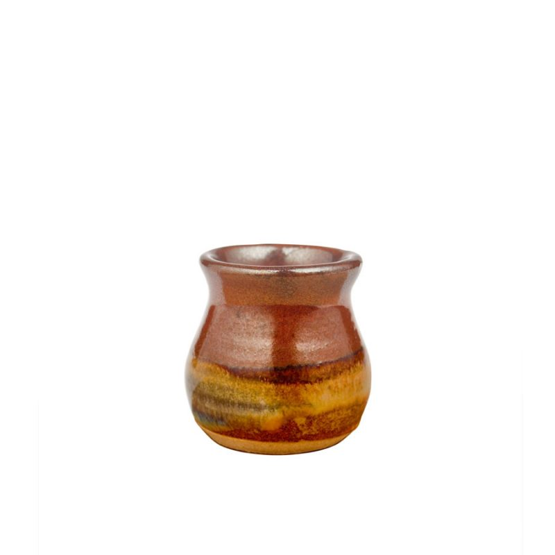 a petite, red and sandy brown jar