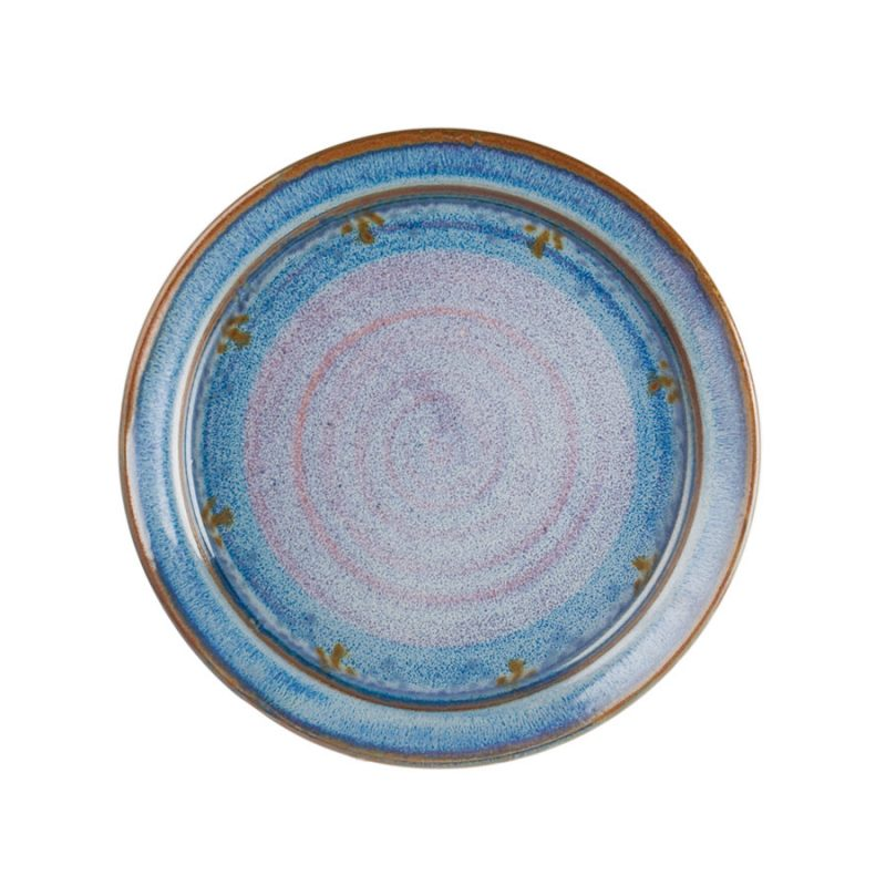 a large, handmade, variegated blue dinnerware plate with a bronze colored rim.