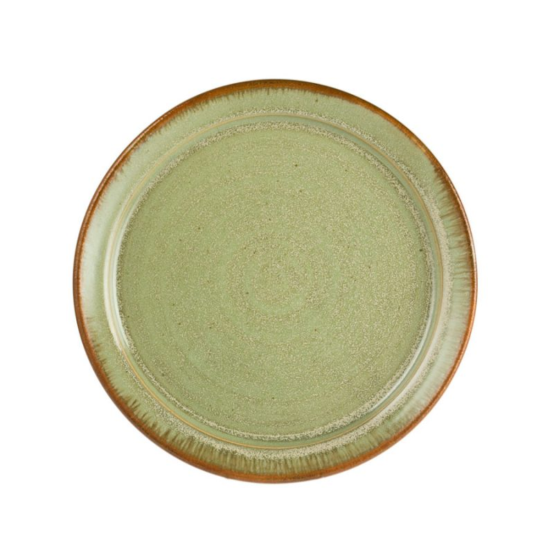 A large, handmade, frosted mint green dinnerware plate with a bronze colored rim.