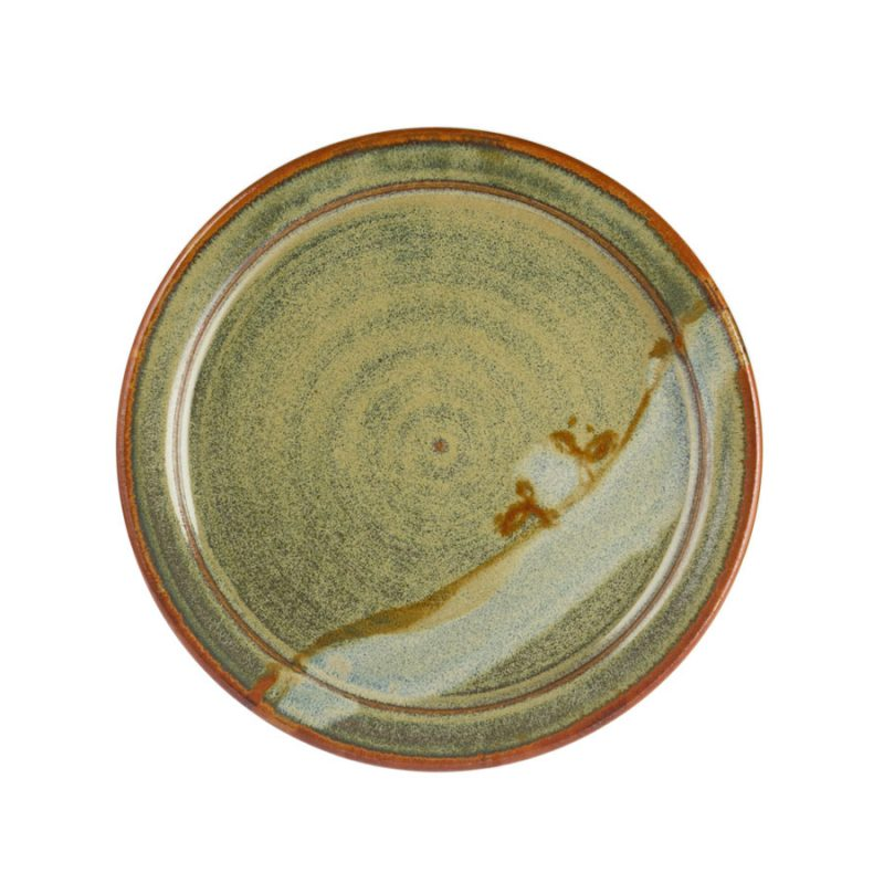 A large, handmade, variegated green dinnerware plate with a bronze colored rim, featuring a light blue band across the surface.