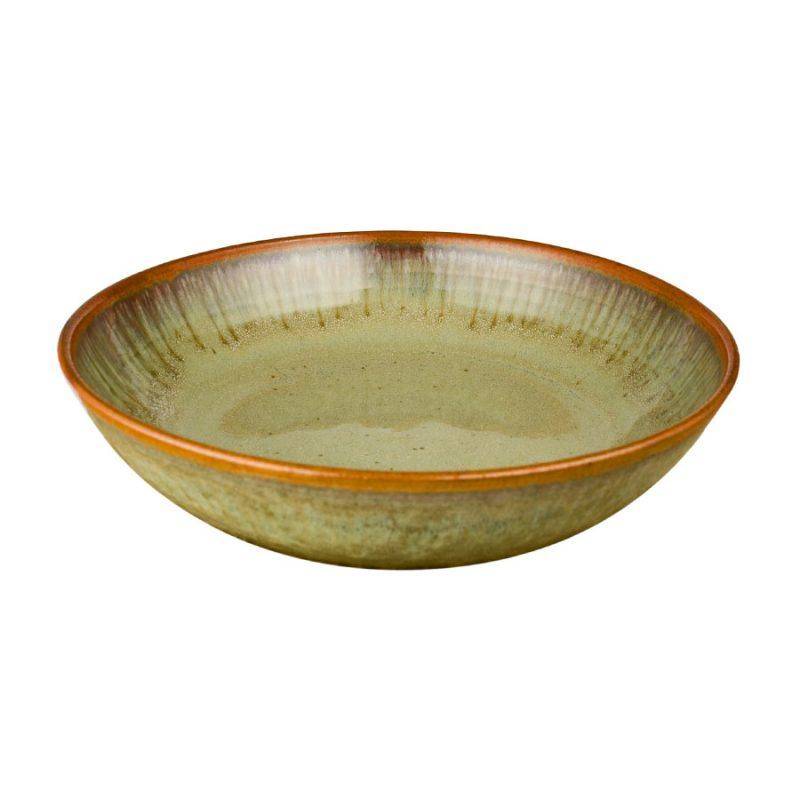 A shallow, handmade, mint green serving bowl with a bronze colored rim.