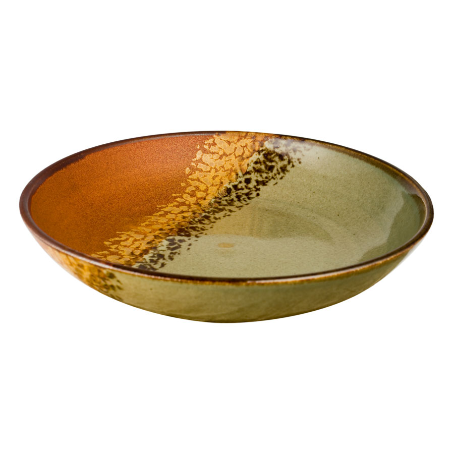 A shallow, handmade, green and sandy brown serving bowl with a dark brown rim, featuring a black and gold animal print band across the surface.