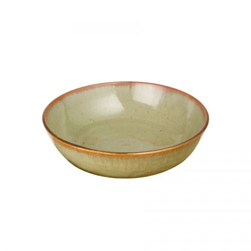 A small, shallow, handmade dinnerware bowl for pasta or salad. It is mint green with a bronze colored rim.