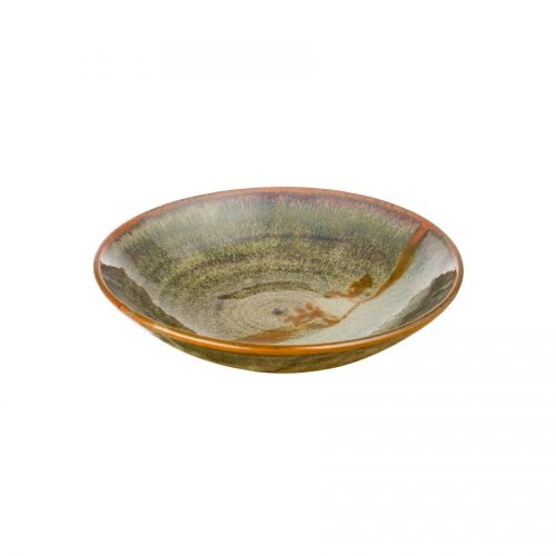 A small, shallow, handmade dinnerware bowl for pasta or salad. It is variegated green and features a pale blue band across a third of the pottery.