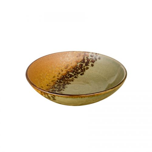A small, shallow, handmade dinnerware bowl for pasta or salad. It is green and orange and features a black and gold animal print band across a third of the pottery.