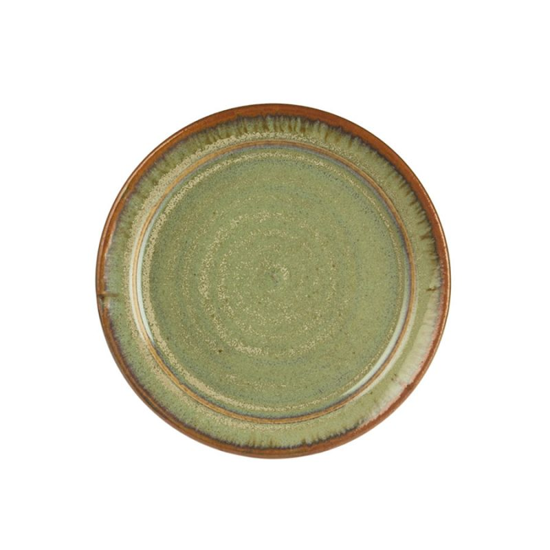 A small, handmade, frosted mint green dinnerware plate with a bronze colored rim.