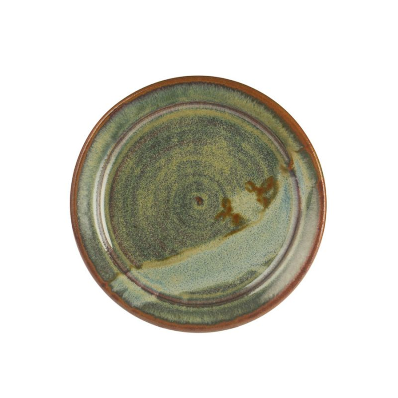 A small, handmade, variegated green dinnerware plate with a bronze colored rim, featuring a light blue band across the surface.