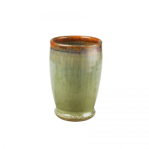 A short, handmade, frosted mint green drinking cup with a bronze colored rim.