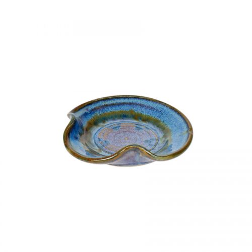 a petite, blue utensil stand