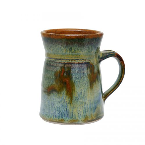 a variegated green coffee mug with flared sides and a bronze colored rim, featuring a light blue band across the surface.