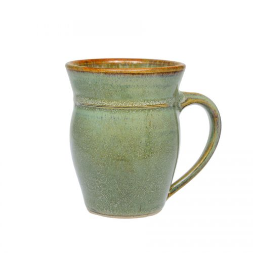A handmade, frosted mint green coffee mug with rounded sides and a bronze colored rim.