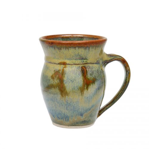 A variegated green, handmade coffee mug with rounded sides and a bronze colored rim, featuring a light blue band across the surface.