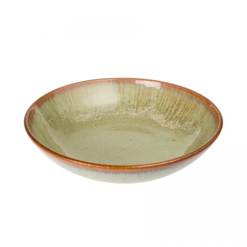 A shallow, handmade dinnerware bowl for pasta or salad. It is mint green with a bronze colored rim.