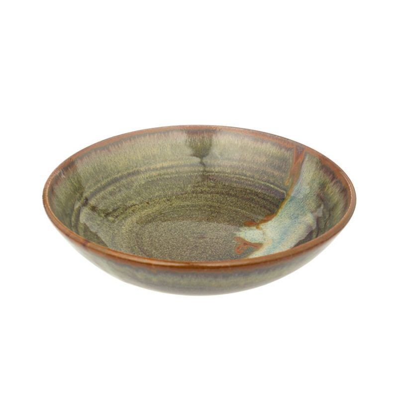 A shallow, handmade dinnerware bowl for pasta or salad. It is variegated green with a bronze colored rim and a pale blue band across a third of the pottery.