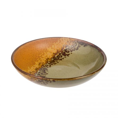 A shallow, handmade dinnerware bowl for pasta or salad. It is green and orange with a band of black and gold animal print across a third of the pottery.
