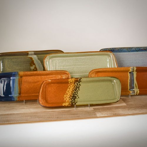 6 long bread serving trays in different patterns