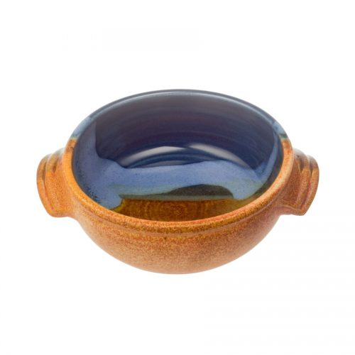 A small, handmade, blue and orange soup bowl with straight sides, handles, and a sky blue band across the surface.