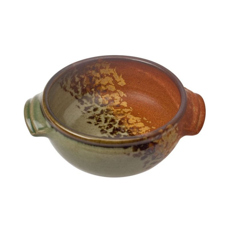 A small, handmade, green and orange soup bowl with straight sides, handles, and a brown rim, featuring a black and gold animal print band across the surface.