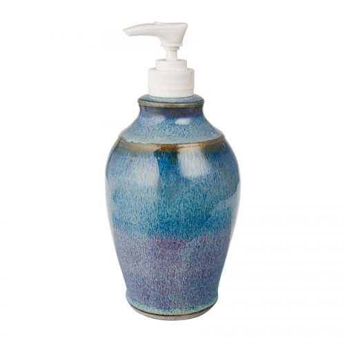 a decorative, blue soap pump