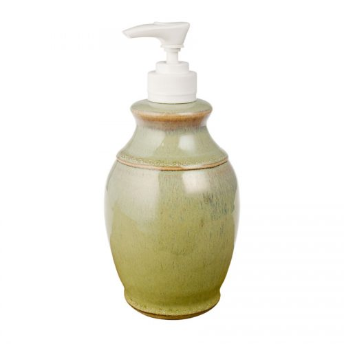 a decorative, mint green soap pump